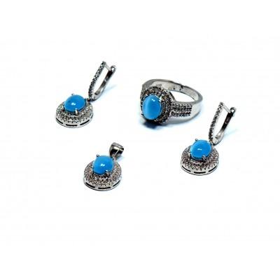 Mavi Kuvars Taşlı Gümüş Set Takımı