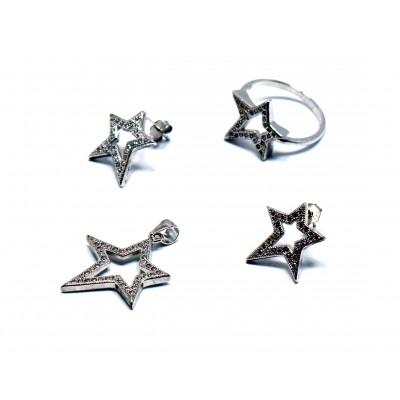 Kuzey Yıldızı Zirkon Taşlı Gümüş Set Takı