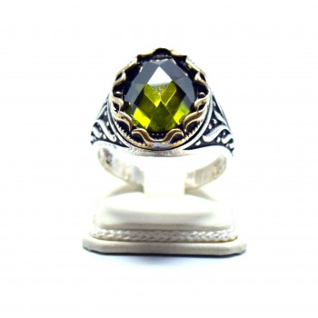 Doğal Sitrin Taşı Erkek Yüzüğü