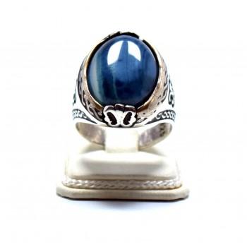Mavi Akik Taşlı Gümüş Erkek Yüzük