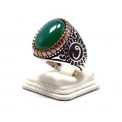 Yeşil Akik Taşlı Vav İşlemeli Gümüş Erkek Yüzük