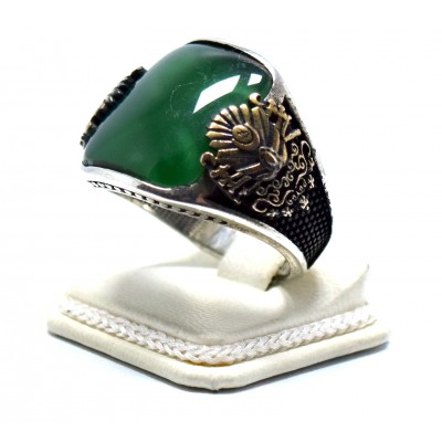 Yeşil Akik Taşlı Fetih Yüzüğü