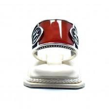 Akik Taşlı Kayı Boyu Simgesi Gümüş Erkek Yüzüğü