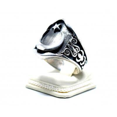 Ay Yıldız Armalı gümüş Zihgir (okçu ) Yüzüğü