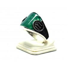 Yeşil Akik Taşlı Kayı Bayrağı  Modeli Gümüş Erkek Yüzük