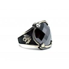 Siyah Kesme  Oniks taşlı Gümüş Erkek Yüzük