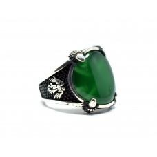 Yeşil Akik Taşlı Klasik Gümüş Erkek Yüzük