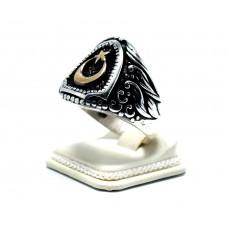 925 Ayar Gümüş  Ay Yıldız Erkek yüzüğü