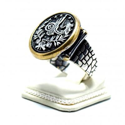 Osmanlı Tuğrası Kalem İşçiliği Gümüş Erkek Yüzüğü