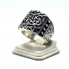 Erzurum Kalemkar İşi El Yapımı Gümüş Erkek Yüzük