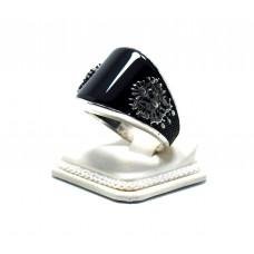 Siyah Oniks Taşlı Fetih Armalı Gümüş Yüzük