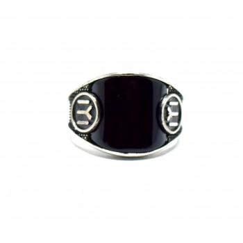 Siyah Oniks Taşlı Kayı Modeli Gümüş Yüzük