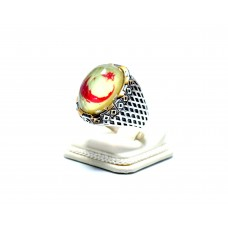 Sarı Kırmızı Ay Yıldız Modeli Gümüş Erkek Yüzük