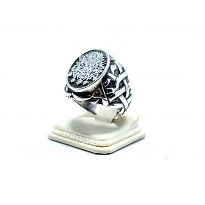 Osmanlı Fetih Armasının Kalem İşçiliğiyle Yapılan Gümüş Erkek Yüzüğü