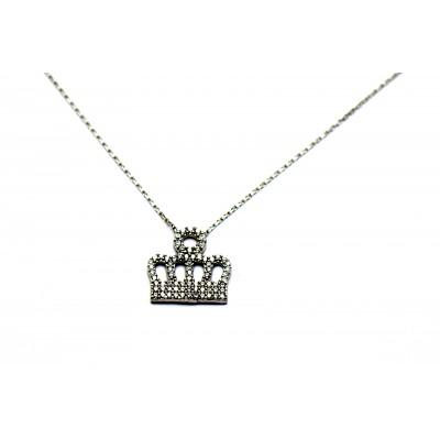 Kral Tacı Zirkon Taşlı Gümüş Kolye