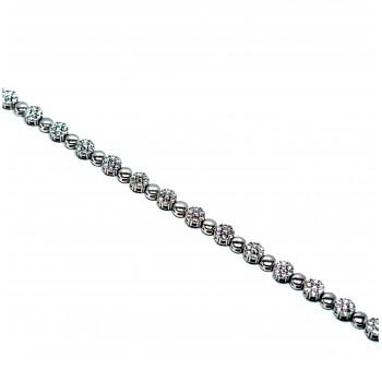 925 Ayar Gümüş Kalpli  Swarovski Taşlı Suyolu Bileklik