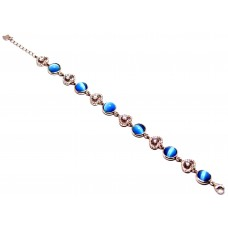 925 Ayar Gümüş  Mavi Kedi Gözü   Taşlı Bileklik