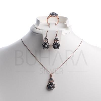 925 Ayar Gümüş Mizonik Pırlanta Taşlı Rose Kaplama Elmas Montürü Set
