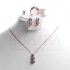 925 Ayar Gümüş Rose Kaplama Elmas Montürü Set