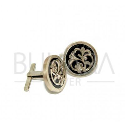 Motifli Gümüş Kol Düğmesi