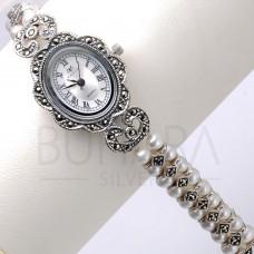 925 Ayar Orjinal Gümüş ve İncili Kordon Bayan Saati