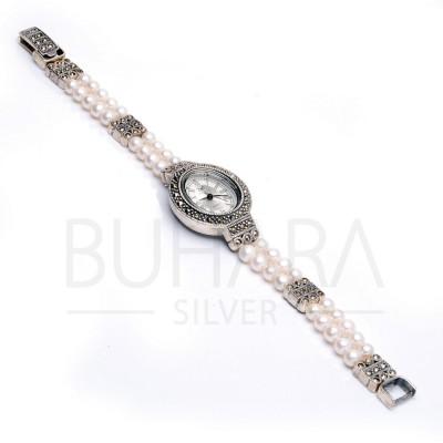 925 Ayar Gümüş  Markazit ve İncili Bayan Saat