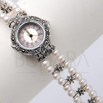 925 Ayar Gümüş Zirkon Taşlı ve İncili Kordon Bayan Saat
